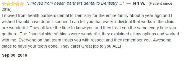 Everyone is wonderful. They treat you with respect. Awesome place to have your teeth done. They care! Great job to you ALL!