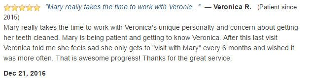 Veronica told her mom that she is sad she only gets to come every six months. Great service!