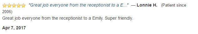 Great job everyone from the receptionist to a Emily. Super friendly.