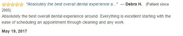 Absolutely the best overall dental experience around. Everything is excellent starting with the ease of scheduling an appointment through cleaning and any work.