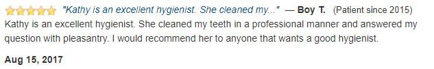 Kathy is an excellent and professional hygienist.