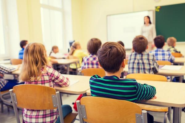 Third graders in school classroom