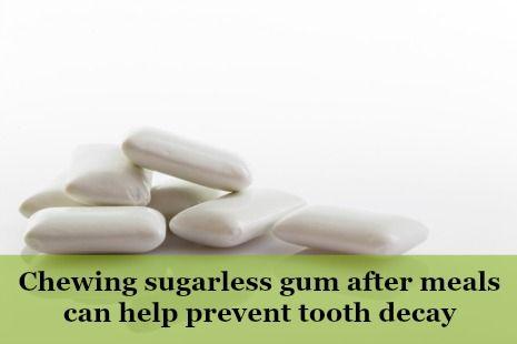 Chewing sugarless gum fact