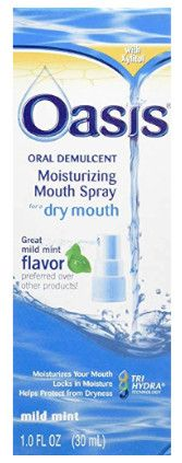 Oasis is a popular spray to help relieve dry mouth symptoms.
