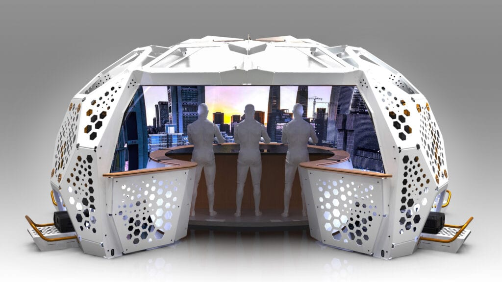 Inside view of Station IX, Imagine 4D's immersive display environment