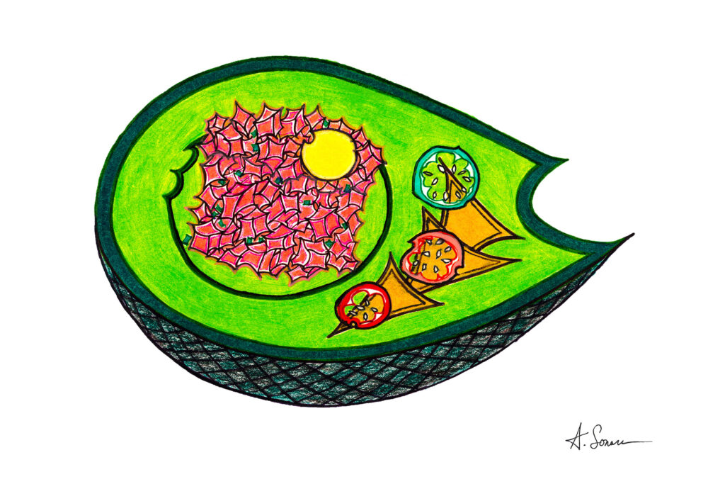 Avocado [2018]; Green and electric on its own, sometimes an avocado needs spicy salmon tartare and tortilla chips for the flavor to really pop.