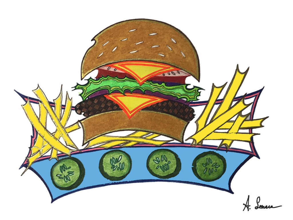 Millenial Burger [2017]; Why are the pickles just drawn on the packaging but not actually on the otherwise traditionally appealing, yet electrified cheeseburger? Could it be that the concept is strong, but the flavor profile of the dish is lacking? At least it comes with a side of fries.