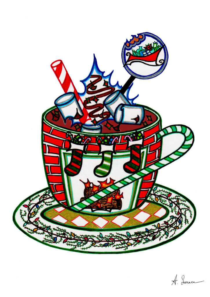 X-Mas Cocoa [2018]; T'was the night before, with stockings hung by the fire, holiday lights on evergreen, hot cocoa filled with chocolate chips, shavings & syrup, marshmallows, whipped cream, and peppermint, all surrounded by a green candy cane with a cake pop showing Santa's sleigh flying overhead. There are presents and more candy too.