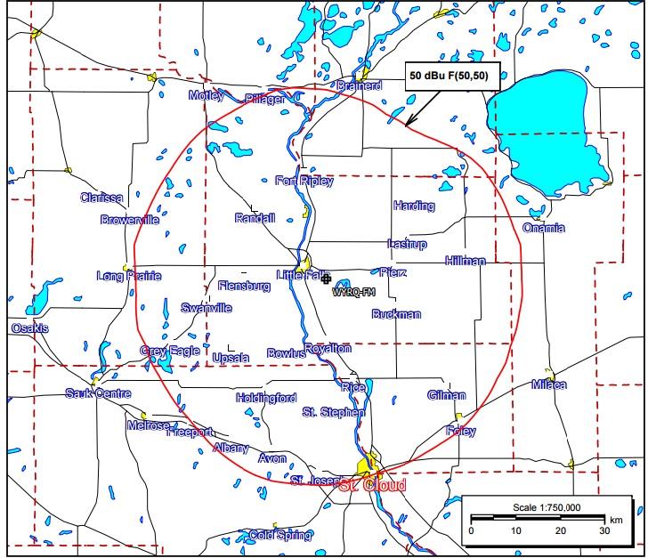 WYRQ Coverage map