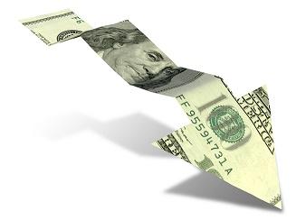 Dollar Bank Note Downward Trend Arrow