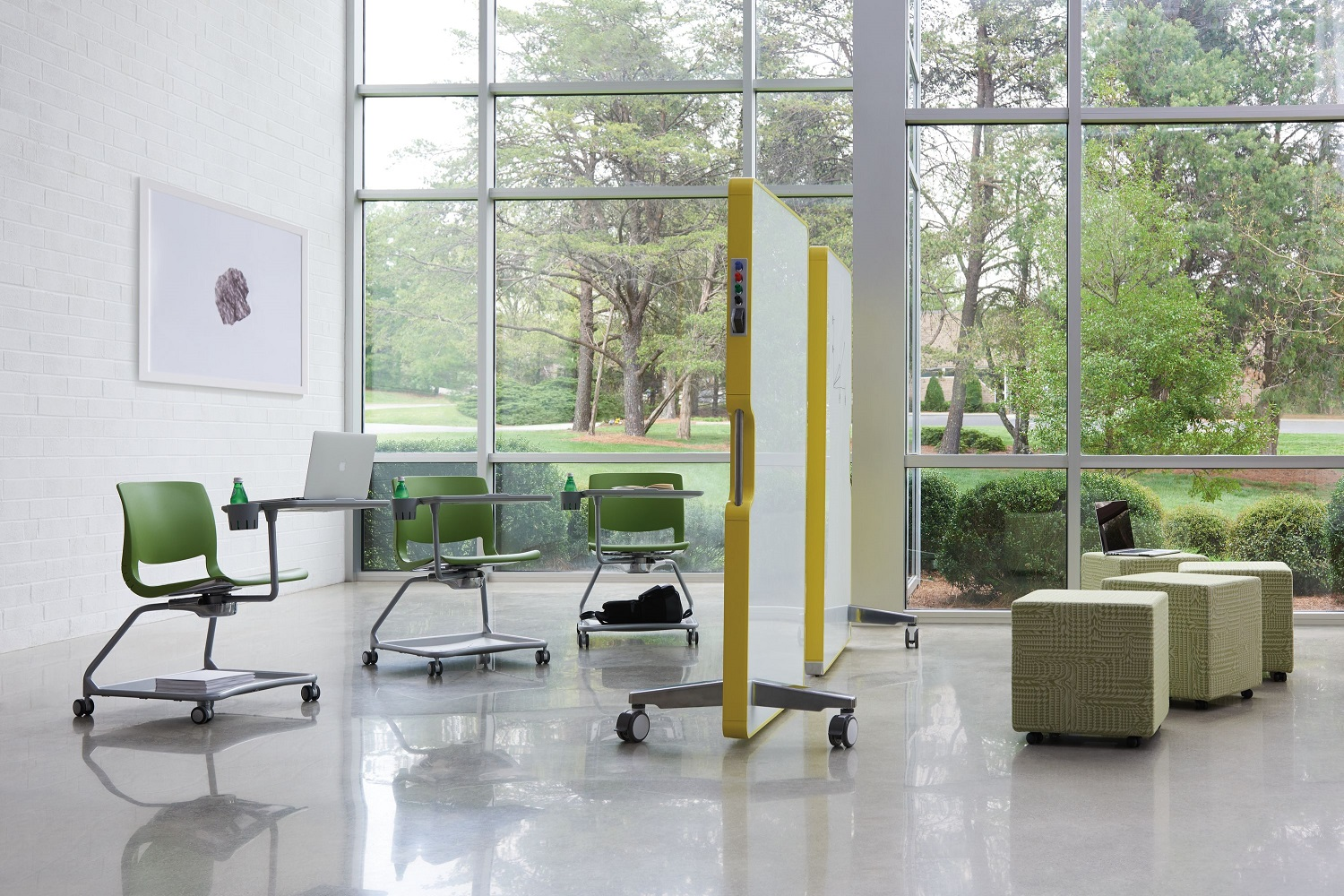 open office floor plan - group collaborative spaces together