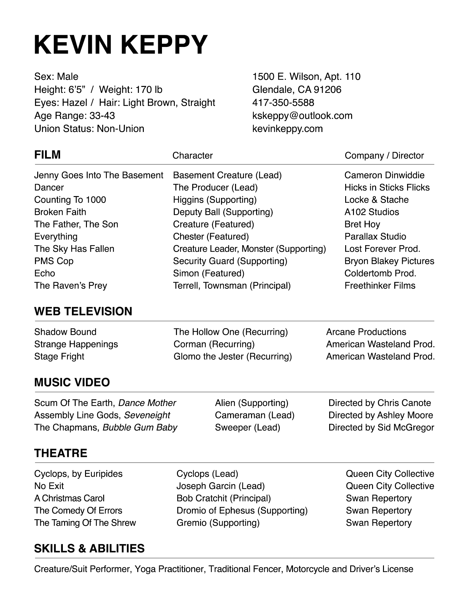 Kevin Keppy Acting Resume