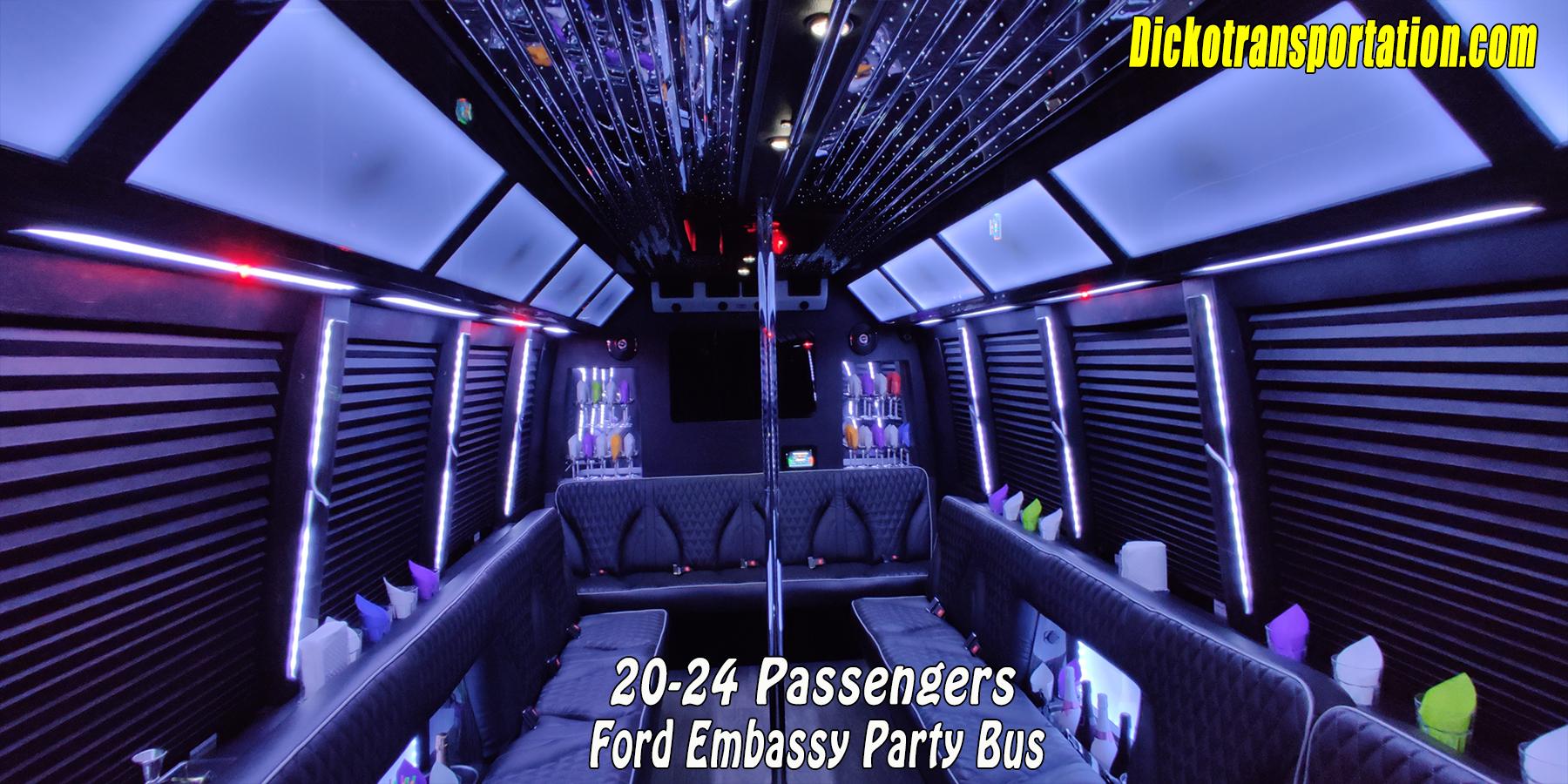 Dicko Transportation 24 Passenger Party Bus white light