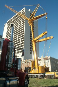 Sautter Crane's Liebherr LTM1400 7.1 in action at an equipment lift at The Enclave, 3851 Boardwalk, Atlantic City, NJ.