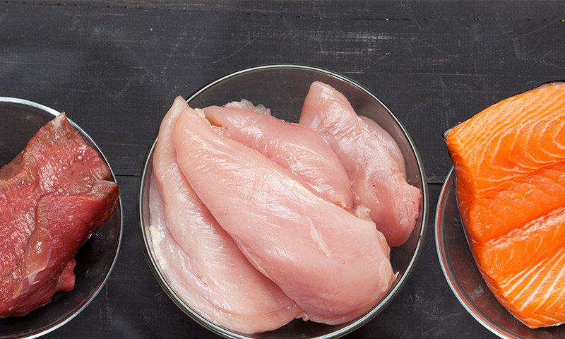 Seafood, meat or poultry