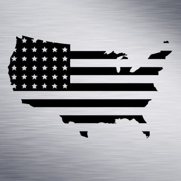 America Shaped Flag Engraving Design