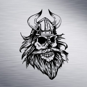 Viking Skull Engraving Design