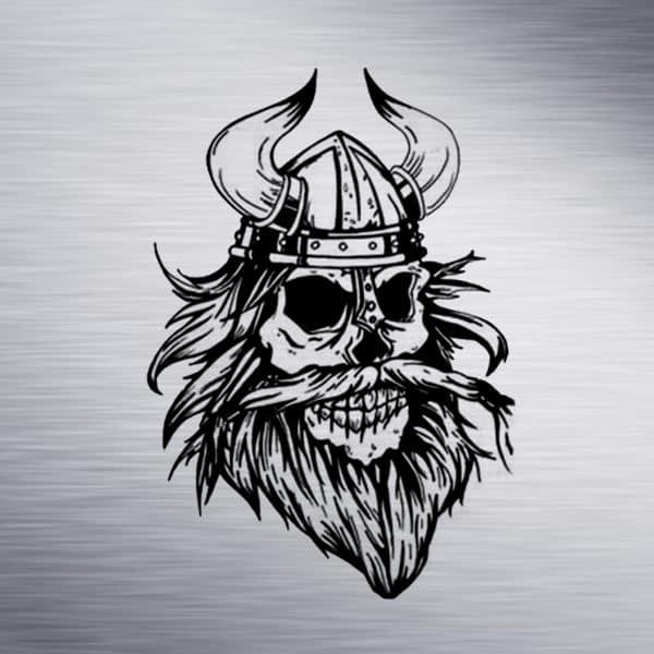 Viking Skull Engraving Design