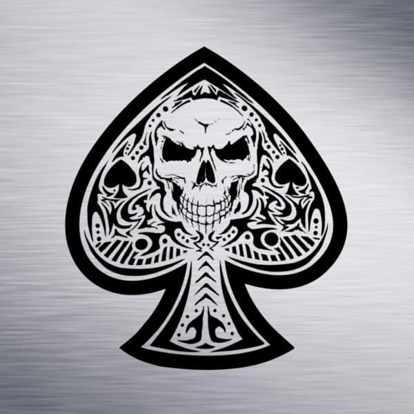 Spade with Skull Engraving Design