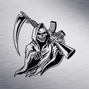 Grim Reaper with Rifle Engraving Design