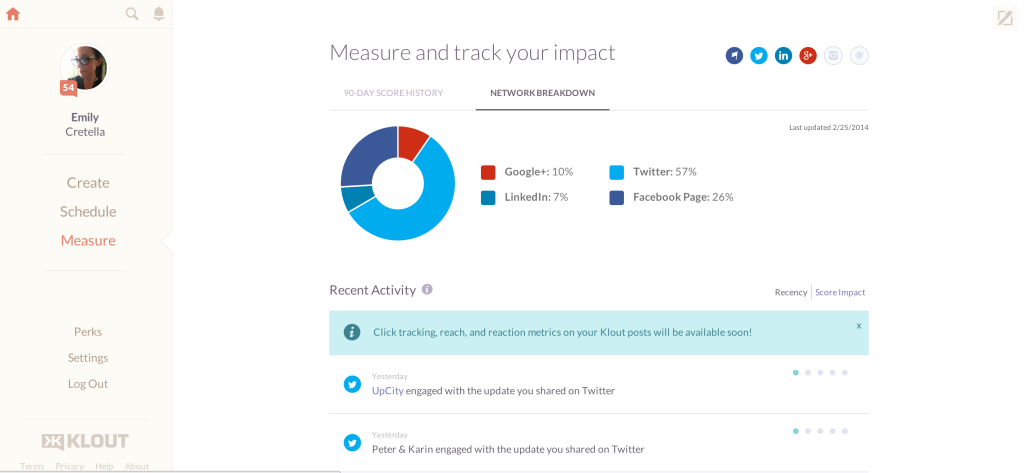 new klout dashboard measure and track content marketing