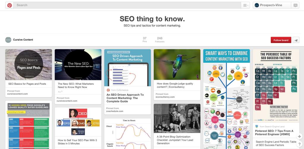 SEO Pinterest board Cursive Content Marketing