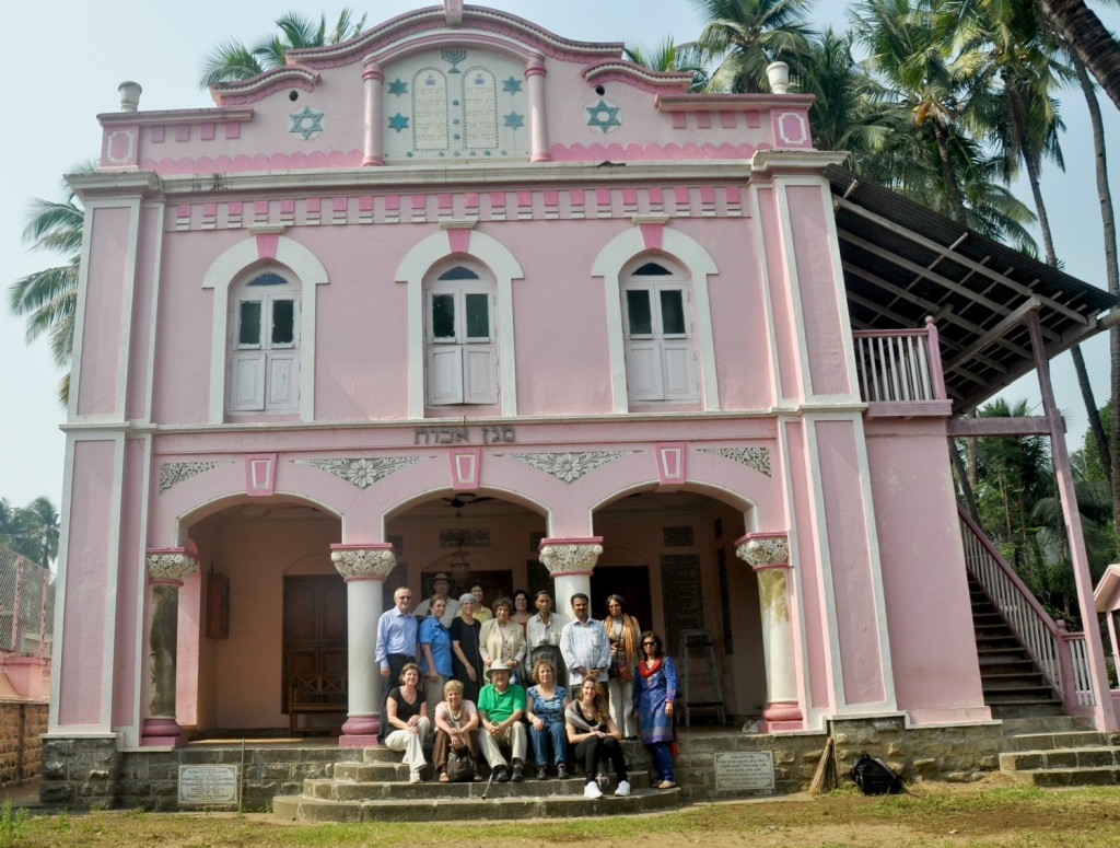 "Travelers at Magen Aboth Synagogue in Alibag on the Konkan Coast following the path of Jews shipwrecked there more than 2,000 years ago. The synagogue is two hours from Mumbai by private boat and bus on Burkat Global's ""3000 Years of Jewish India"" tour starting in Mumbai, January 26, 2015 © Burkat Global, LLC"