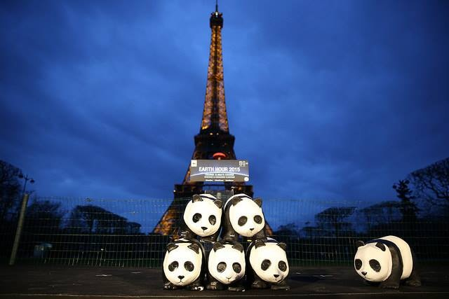 The Eiffel Tower Paris at Earth Hour, 2015. Just 3 months ago, leaders of 196 countries signed the Paris Climate Agreement (courtesy of EarthHour.org).