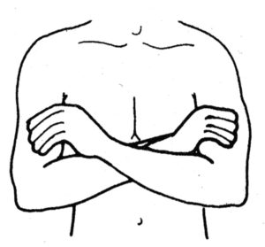 Figure 4 Jumper cable (hold) right elbow between tendons (Safety Energy Lock #19) with the left hand and then left elbow between tendons (Safety Energy Lock #19) with the right hand.
