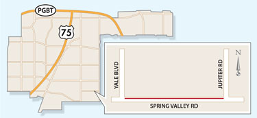 Westbound Spring Valley Road Lane Closure Expected Near Jupiter Road