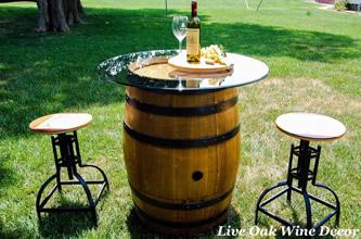 wedding rental wine table and barstools