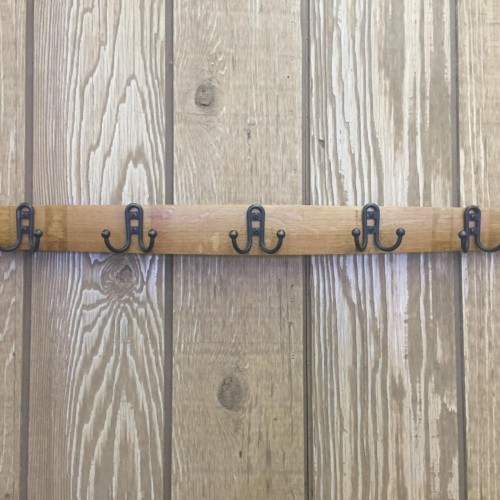 Stave Coat Rack with Small Double Hooks 2