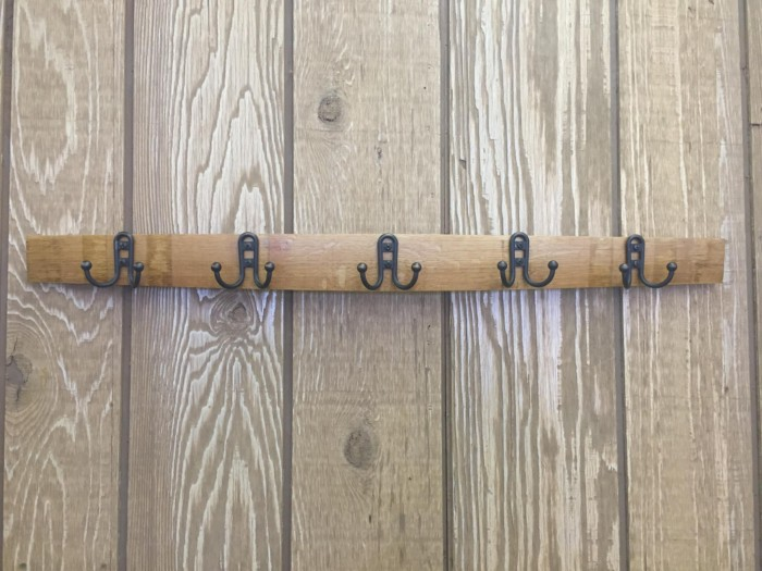 Stave Coat Rack with Small Double Hooks 1