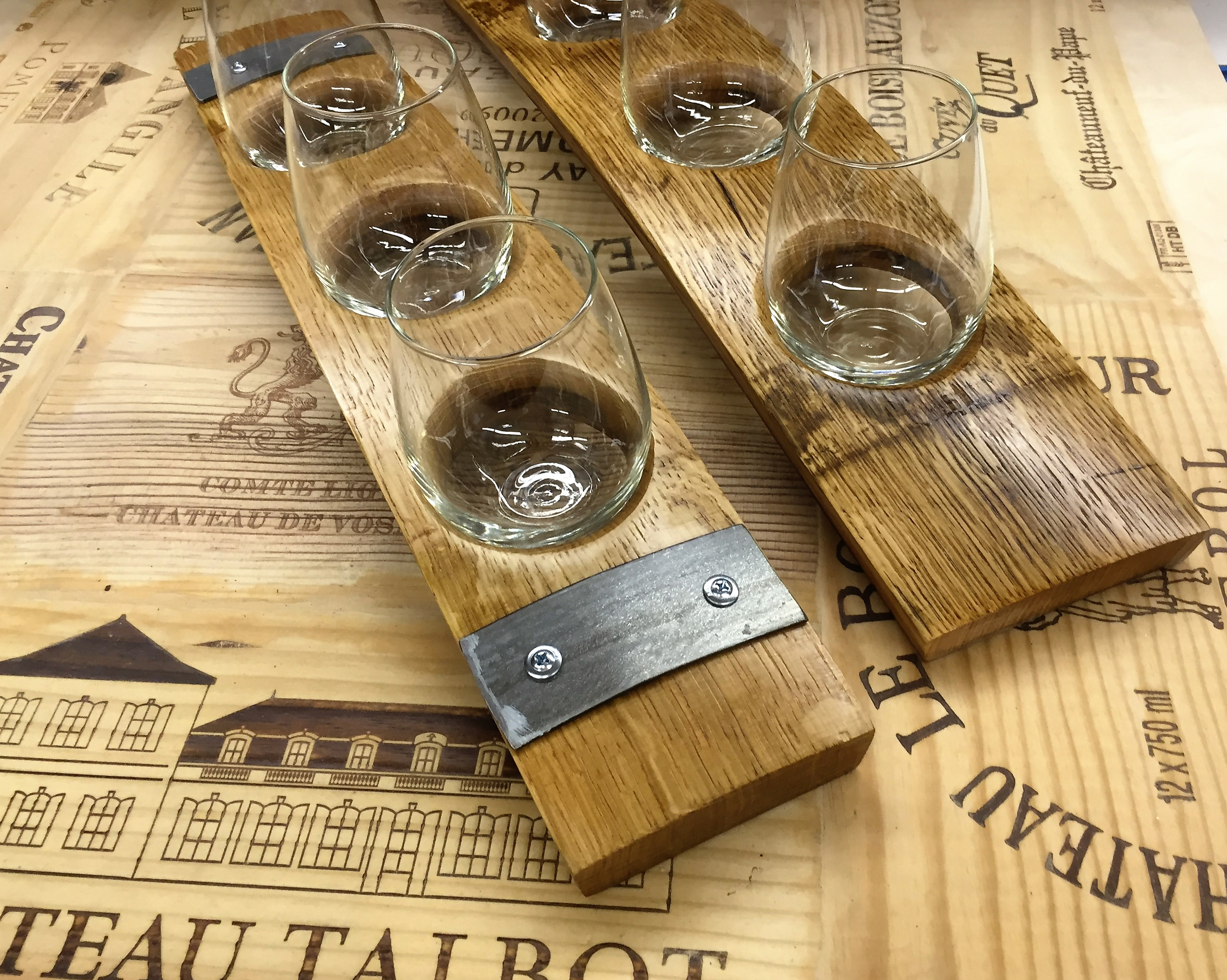 3 Glass Wine Flight with Authentic Wine Barrel Banding 3