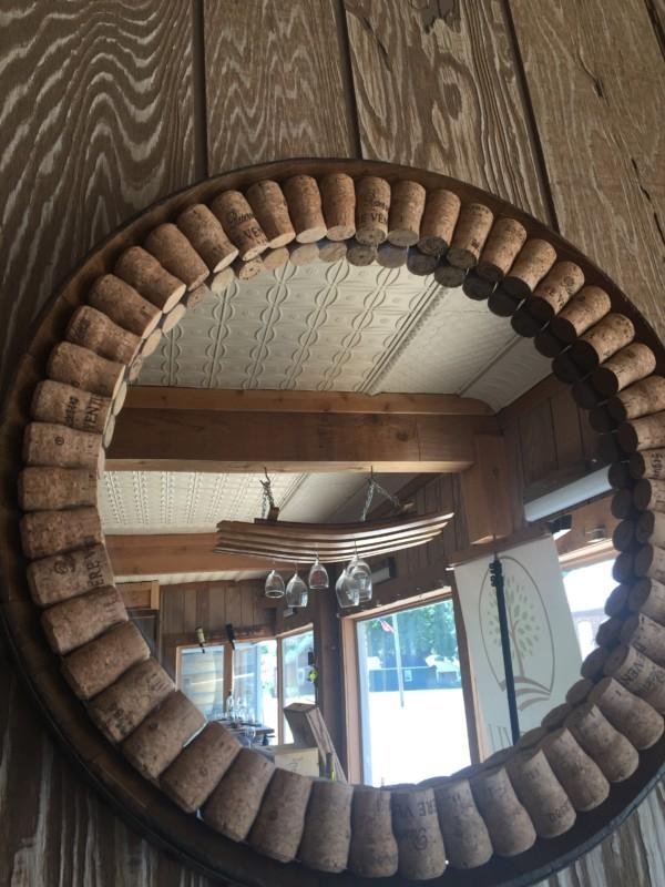 Champagne Cork Wine Barrel Mirror 15