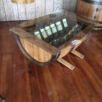 find a coffee table made from wine barrel