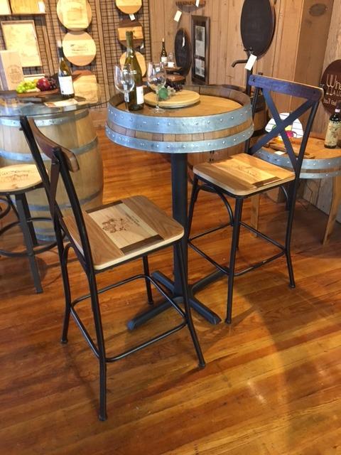 wine barrel bar stool and table