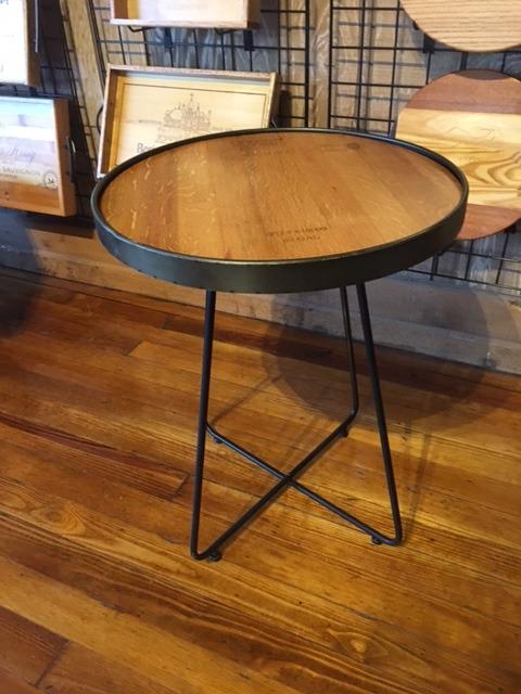 Wine Barrel Top Accent Table w/ Metal Legs 1
