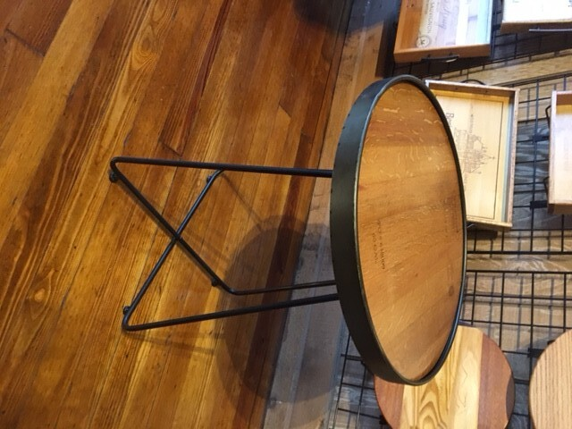 Wine Barrel Top Accent Table w/ Metal Legs 3
