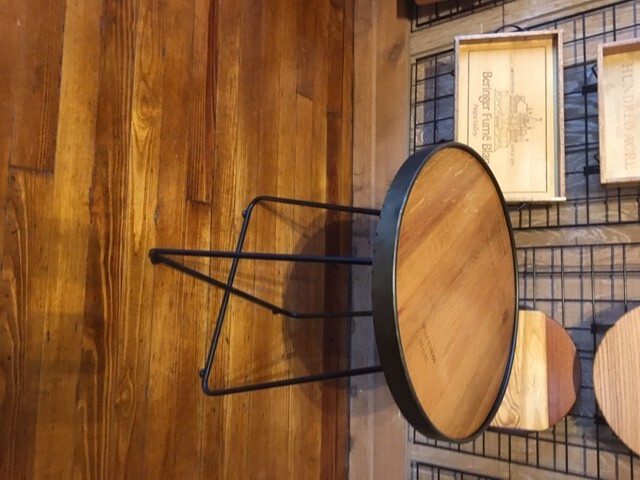 Wine Barrel Top Accent Table w/ Metal Legs 2