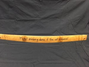 Its Not Drinking Alone If the Cat Is Home    Painted Wine Barrel Stave Sign 2