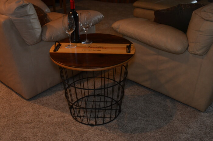 Wine Decor - Wire Basket End Table 2