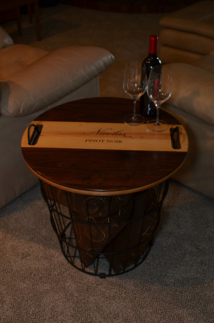 Wine Decor - Wire Basket End Table 6