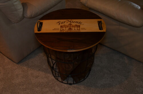 Wine Decor - Wire Basket End Table 1