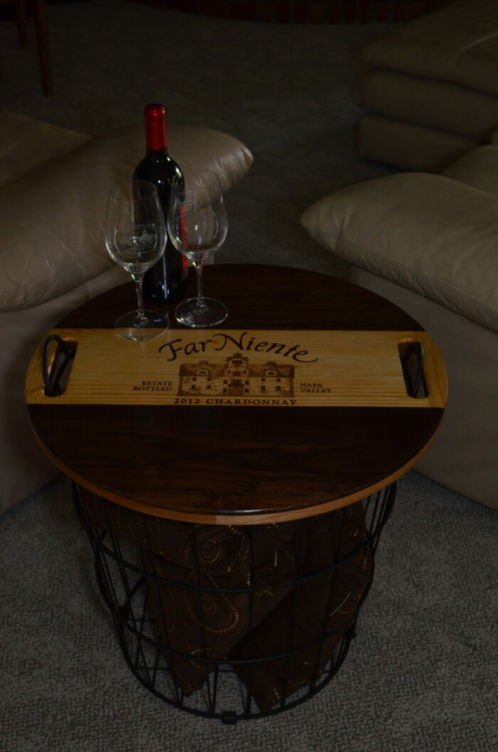 Wine Decor - Wire Basket End Table 7