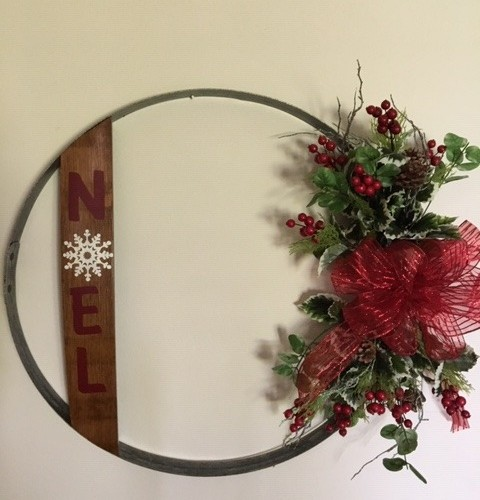 Noel Wine Barrel Hoop Wall Hanging 9