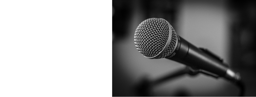 black and white picture of single microphone