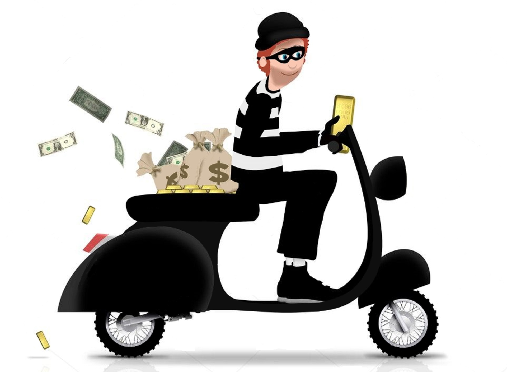 thief stealing motorcycle