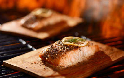Featured on the OU website – Planked salmon with mustard dill sauce