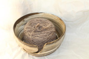 Nuts Natural Colored Yarn in Wendy Clay Natural Stripes Yarn Bowl